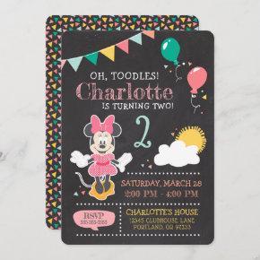 Minnie Mouse 2nd Birthday Chalkboard Invitation
