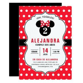 Minnie Mouse Cumpleaños de lunares rojos y blancos Invitation