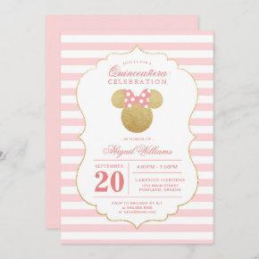 Minnie Mouse   Gold & Pink Quinceañera Celebration Invitation