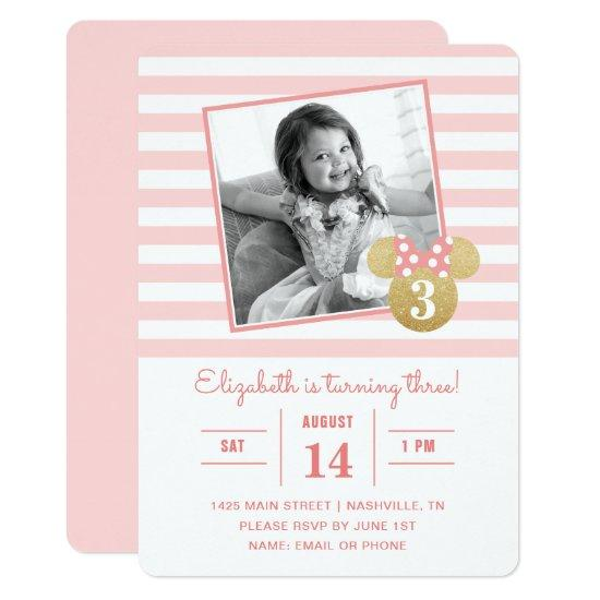 Minnie Mouse | Gold & Pink Striped Photo Birthday