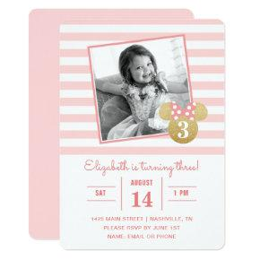 Minnie Mouse | Gold & Pink Striped Photo Birthday Invitations