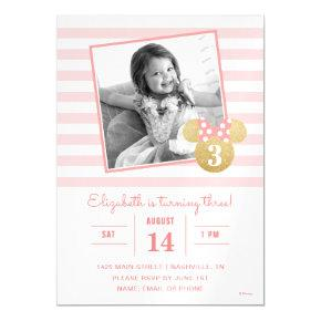 Minnie Mouse | Gold & Pink Striped Photo Birthday Magnetic Invitation