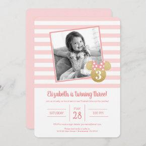 Minnie Mouse | Gold & Pink Virthal Birthday Invitation