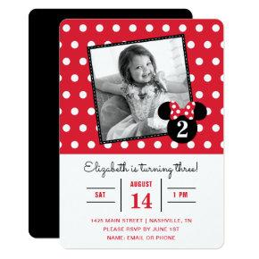 Minnie Mouse | Red & White Dots Photo Birthday Invitation