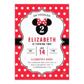 Minnie Mouse | Red & White Polka Dot Birthday Magnetic Invitation