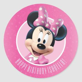 Minnie Pink and White Birthday Classic Round Sticker