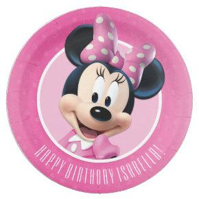 Minnie Pink and White Birthday Paper Plate