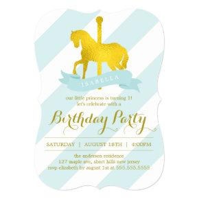 Mint Carousel Horse Birthday Party Card