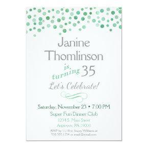 Mint Gray Birthday Invitation Confetti Watercolor