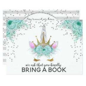 Mint, Silver & Gold Unicorn Princess Bring A Book Invitation