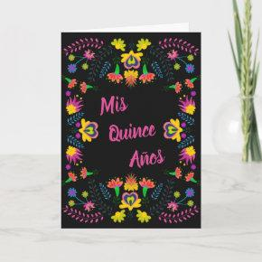 Mis Quince Anos Black Floral Mexican Fiesta Party Invitation