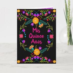 Mis Quince Anos Black Mexican Fiesta Quinceanera Invitation