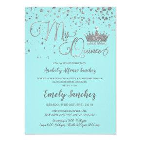 Mis Quince Anos Blue Silver Trendy Spanish Photo Invitation