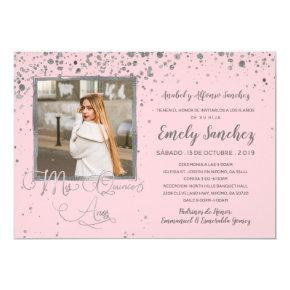 Mis Quince Anos Blush Pink Silver Confetti Photo Invitation