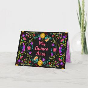 Mis Quince Anos Floral Quinceanera Mexican Fiesta Invitation
