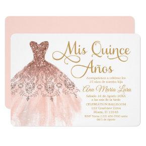 Mis Quince Años Invitación de Quinceañera Rosada Invitation