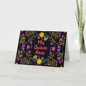 Mis Quince Anos Mexican Fiesta Black Quinceanera Invitation