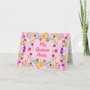 Mis Quince Anos Mexican Fiesta Floral Pink Folded Invitation