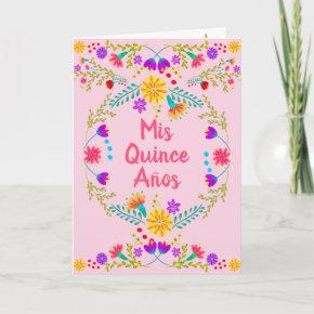 Mis Quince Anos Mexican Floral Pink Quinceanera Invitation