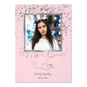 Mis Quince Anos Pink Silver Confetti Spanish Photo Invitation