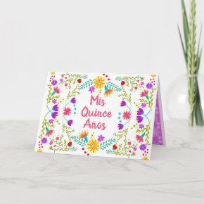 Mis Quince Anos Quinceanera Floral Mexican Fiesta Invitation