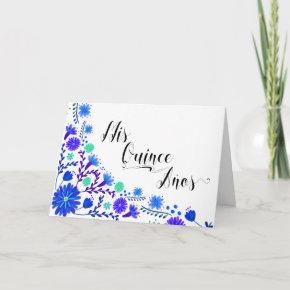 Mis Quince Anos Royal Blue Floral Quinceanera Invitation
