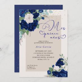 Mis Quince Anos Royal Blue Navy Floral Quinceanera Invitation