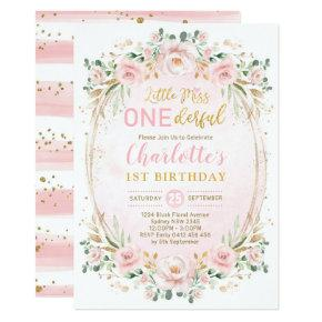 Miss ONEderful Blush Pink Gold Floral 1st Birthday Invitation
