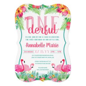Miss ONEderful First Birthday Luau Invitation