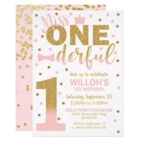 Miss Onederful Invitation 1st Birthday Girl