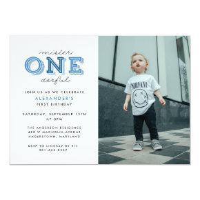 Mister Onederful 1st Birthday Photo Invitation
