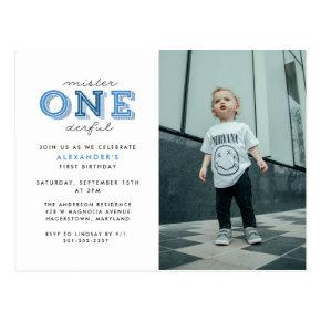 Mister Onederful 1st Birthday Photo Invitation Post
