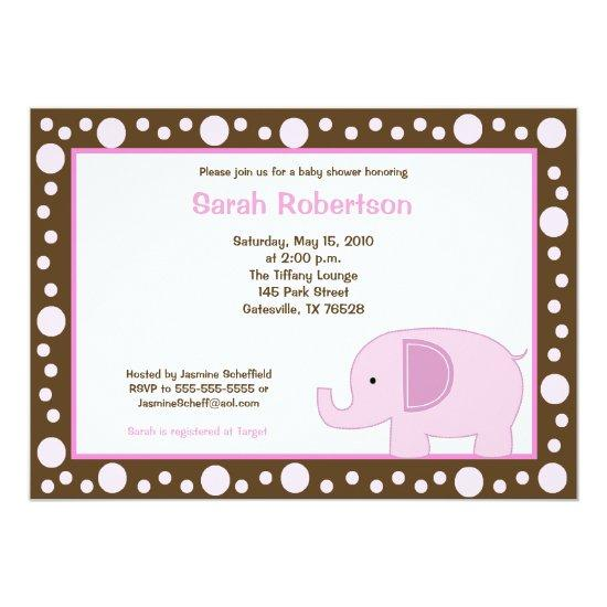 Mod Elephant Jungle Dot Baby Shower Invitations Candied Clouds