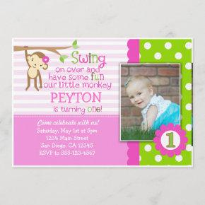 Mod Monkey Birthday Invitation For Girls Pink
