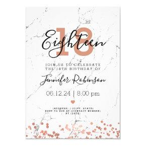 Modern 18th Birthday Party Rose Gold Marble Invitation