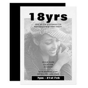 Modern 18th Birthday PHOTO Invite BLACK