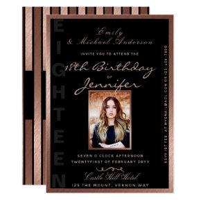 Modern 18th Birthday ROSE GOLD PHOTO Invite