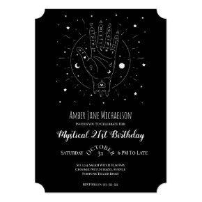 Modern 21 Birthday Fortune Teller Palmistry Magic Invitation