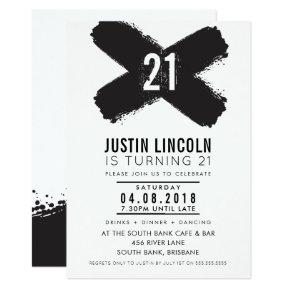 MODERN 21st birthday party black brush strokes Invitation