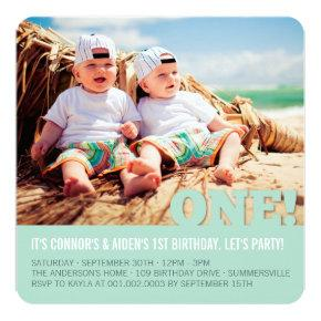 Modern Big ONE Fun Baby Twins Photo First Birthday Invitations