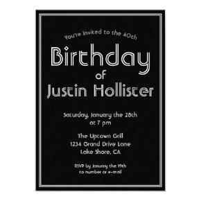 Modern Birthday Invitation ANY AGE | Black & White