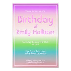 Modern Birthday Invitation | Colorful Ombre