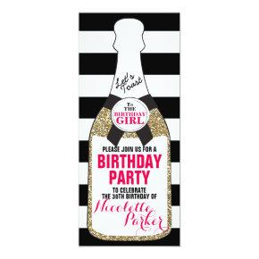 Modern Birthday Party Invitations Champagne 30th