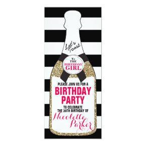 Modern Birthday Party Invitation Champagne 30th
