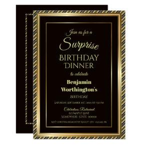 Modern Black and Gold Surprise Birthday Dinner Invitation