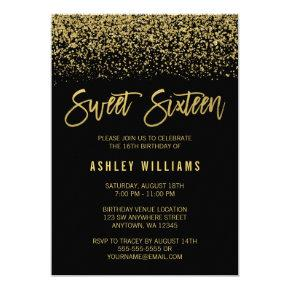 Modern Black Faux Gold Glitter Sweet 16 Birthday Invitations