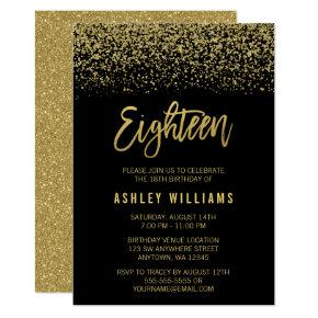 Modern Black Gold Faux Glitter 18th Birthday Invitations