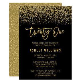 Modern Black Gold Faux Glitter 21st Birthday Invitation