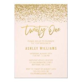 Modern Blush Pink Faux Gold Glitter 21st Birthday Invitation