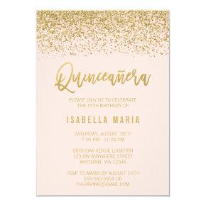 Modern Blush Pink Faux Gold Glitter Quinceanera Invitations